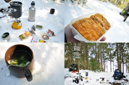 雪山でお弁当とお菓子とお茶
