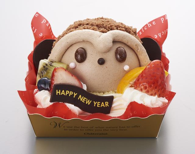 賀正ケーキ おさるさんのチョコムース