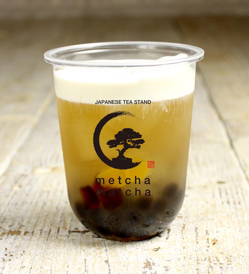 ピーチ緑茶チーズミルクフォーム 《黒糖わらび餅タピオカ入り》 ¥600《税抜》