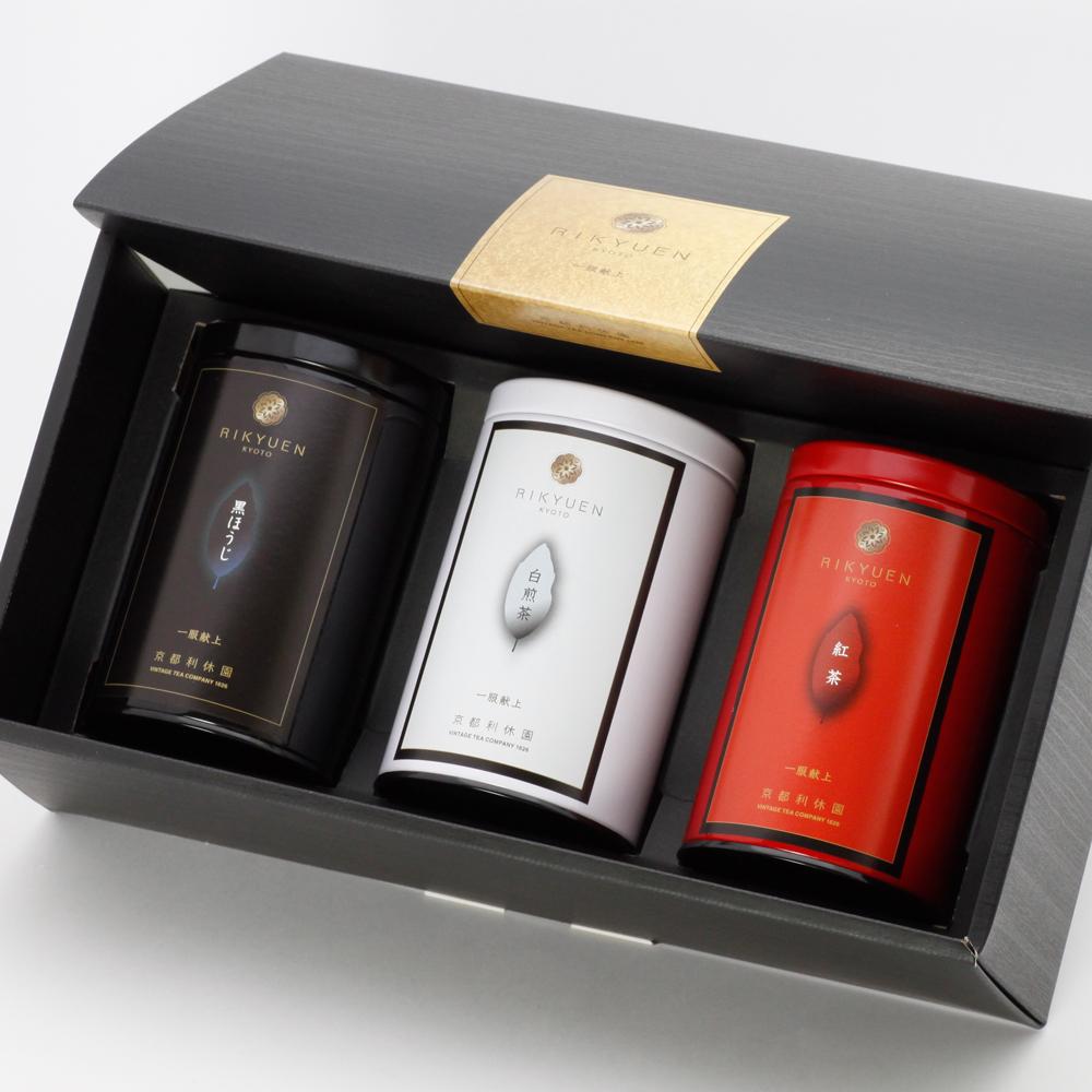 京都利休園3大茶 パッケージ・缶